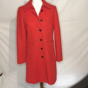 J.crew red trench coat! Size 6 wool